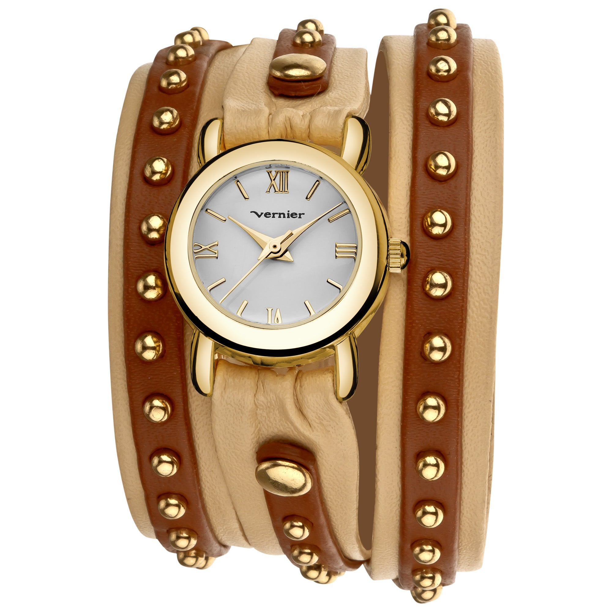 Overstock.com Vernier Women's Gold Tone Triple Wrap Tan/ Brown Watch at Sears.com