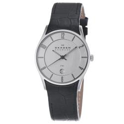 Skagen Men's Chrome Dial Black Leather Strap Date Watch