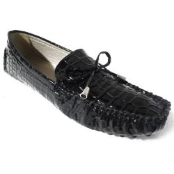 Tabeez Women's 'Driver' Black Faux Croc Loafers