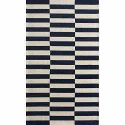 nuLOOM Handmade Stripes Navy Wool Rug (6' x 9')