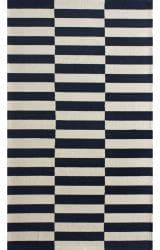 nuLOOM Handmade Stripes Navy Wool Rug (8'6 x 11'6)