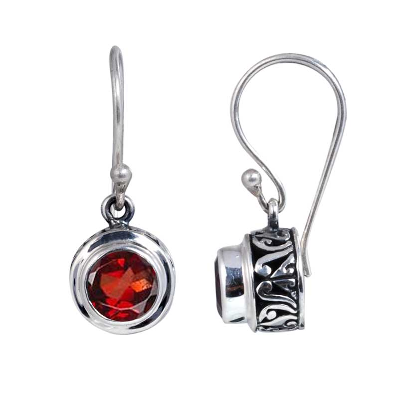 Sterling Silver Faceted Garnet Round Dangle Earrings (Indonesia)