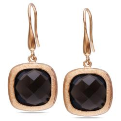 Miadora 18k Pink Gold Plated Silver 8 Ct TGW Smokey Quartz Dangle Earrings
