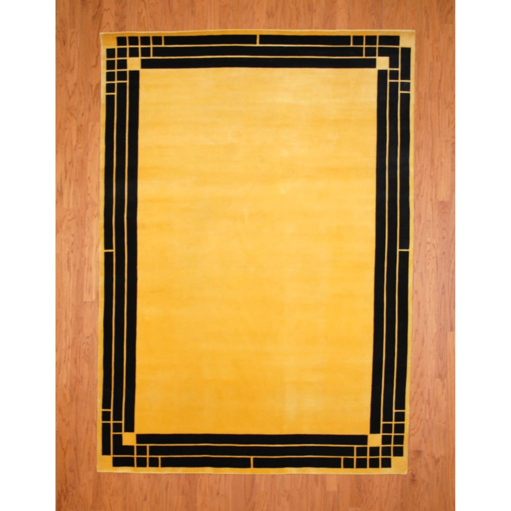 Indo Hand-knotted Tibetan Yellow/ Black Wool Rug (6'9 x 9'7)