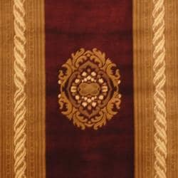 Indo Hand-knotted Tibetan Burgundy/ Ivory Wool Rug (4'1 x 5'11)