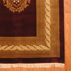 Indo Hand-knotted Tibetan Burgundy/ Ivory Wool Rug (4'1 x 5'11)