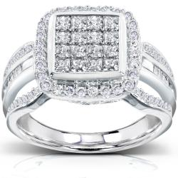 14k White Gold 1ct TDW Diamond Composite Halo Engagement Ring (H-I, I1-I2)