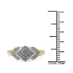 Malaika 14k Yellow Gold over Sterling Silver Diamond Cocktail Ring