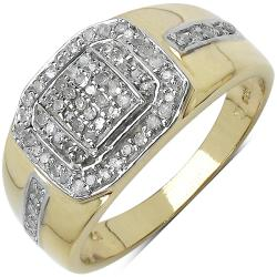 Malaika Gold over Silver Men's 3/8ct TDW Diamond Ring (I-J, I2-I3)