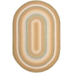 Hand-woven Country Living Reversible Tan Braided Rug (9' x 12' Oval)