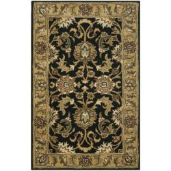 Handmade Traditions Black/ Light Brown Wool Rug (3' x 5')