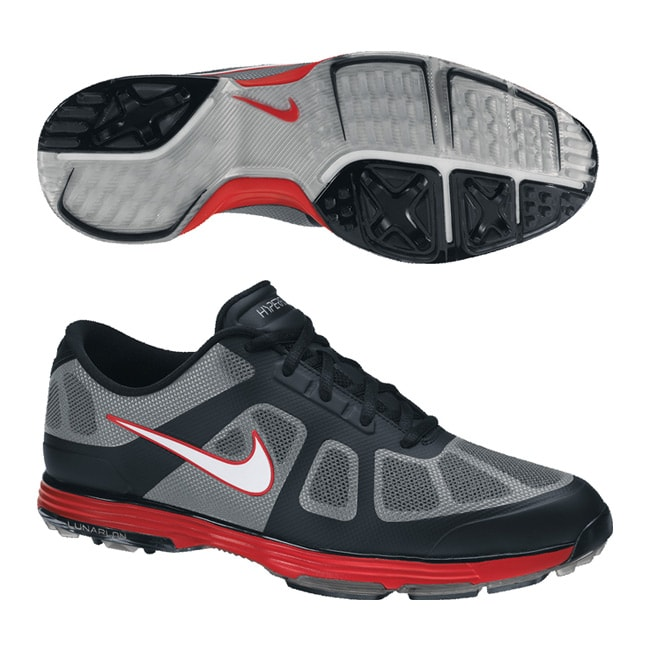 Nike Men's Lunar Ascend Black/ Grey/ Red Golf Shoes (Blem)