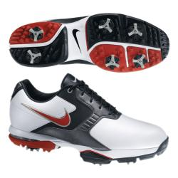Nike Men's Air Academy II White/ Red/ Grey Golf Shoes (Blem)