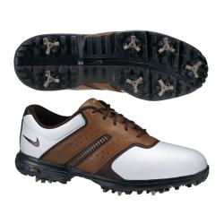 Nike Men's Air Tour Saddle II White/ Brown Golf Shoes (Blem)