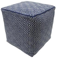 nuLOOM Handmade Casual Living Indian Diamond Navy Cube Pouf