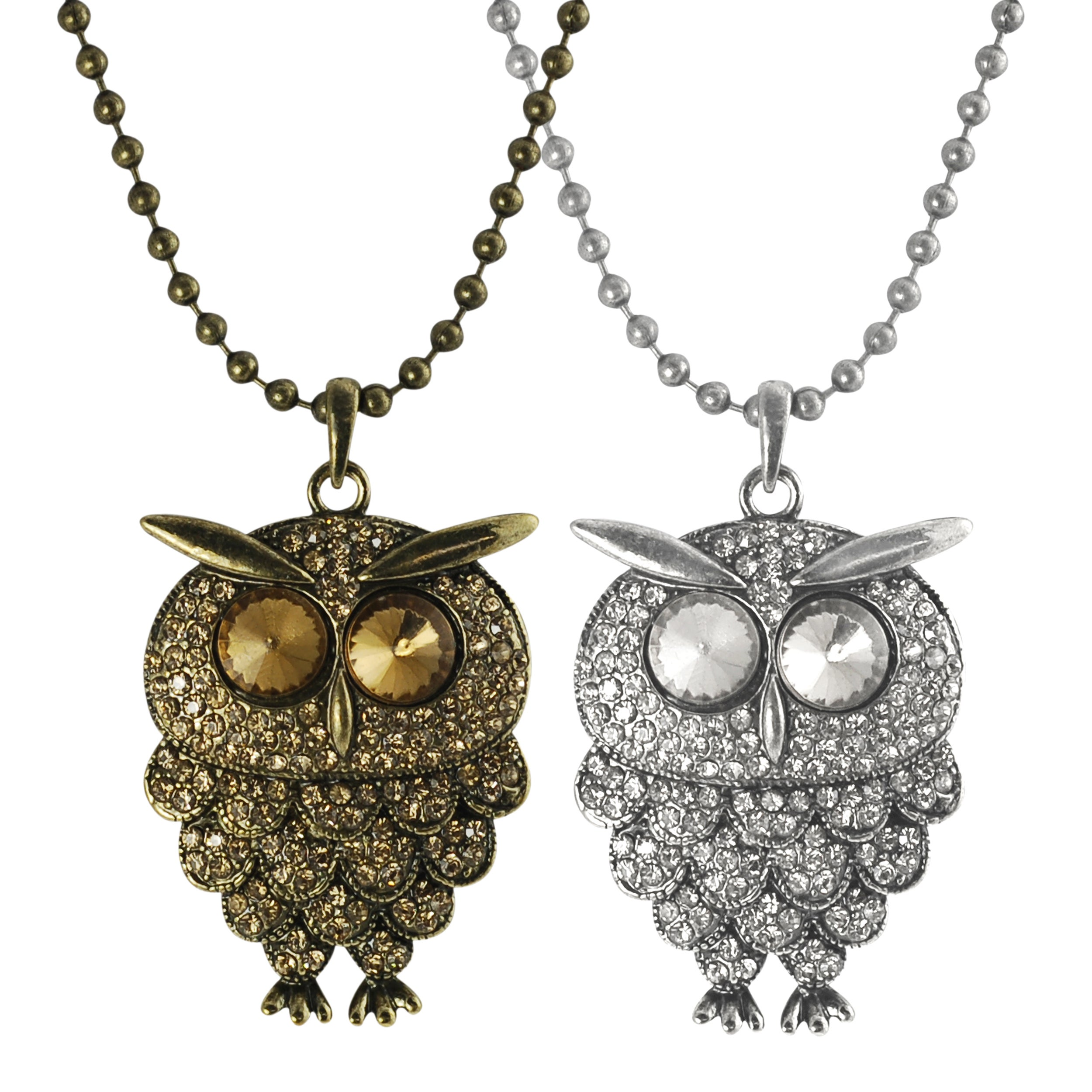 Journee Collection Base Metal Acrylic Stone Owl Necklace