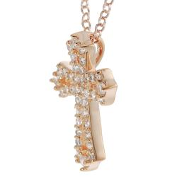 Tressa Rose Gold-plated Sterling Silver Cubic Zirconia Cross Necklace