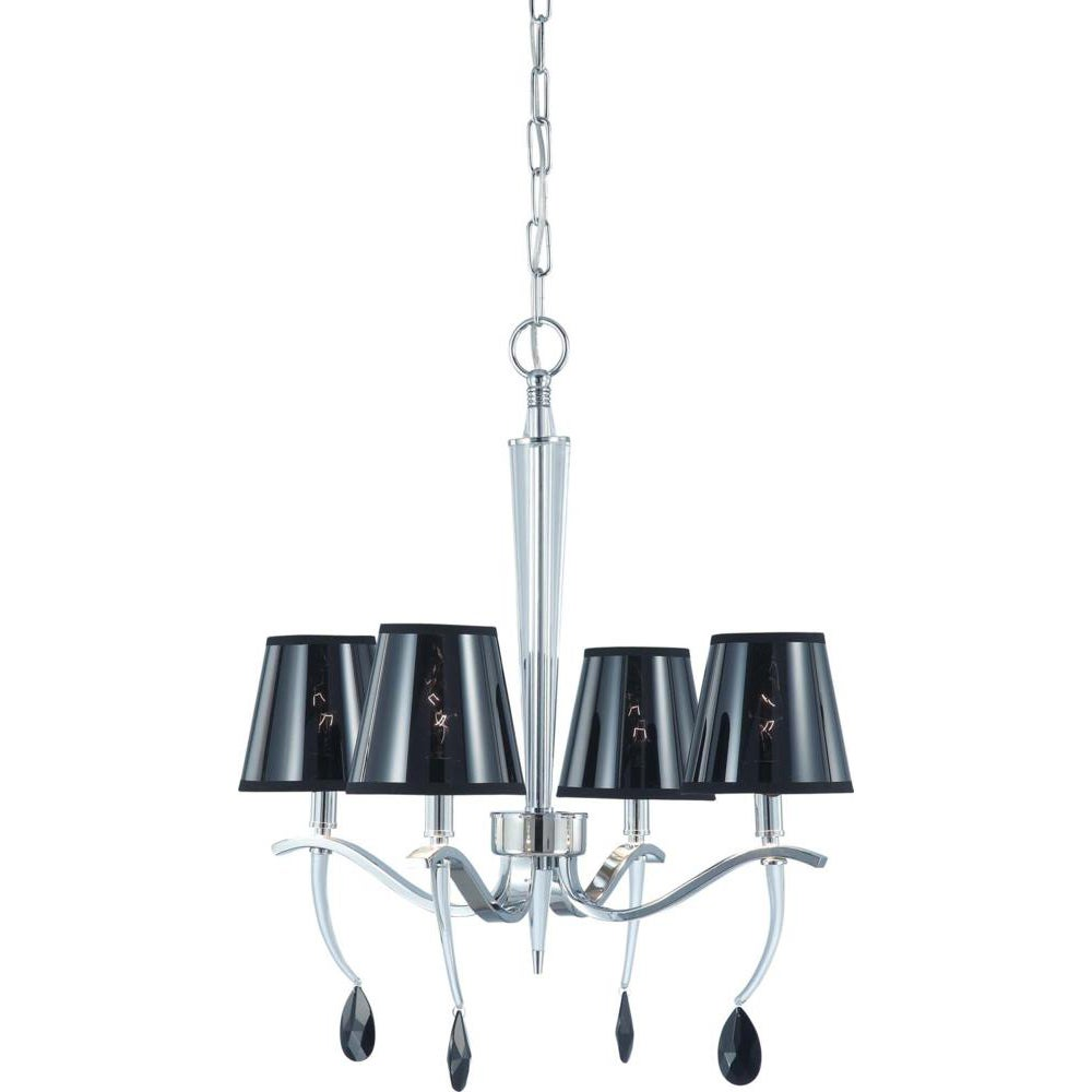 Grace 4 Light Polished Chrome with Semi Transparent Black Shade Chandelier
