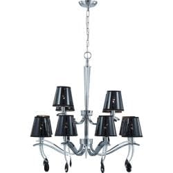 Grace 12 Light Polished Chrome with Semi Transparent Black Shade Two Tier Chandelier