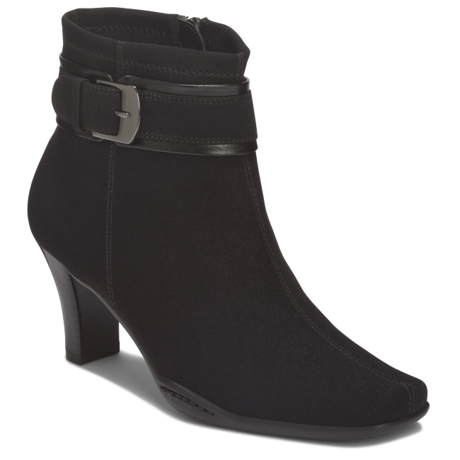 A2 by Aerosoles Cinch of Luck Ankle Black Fabric Ankle Boot