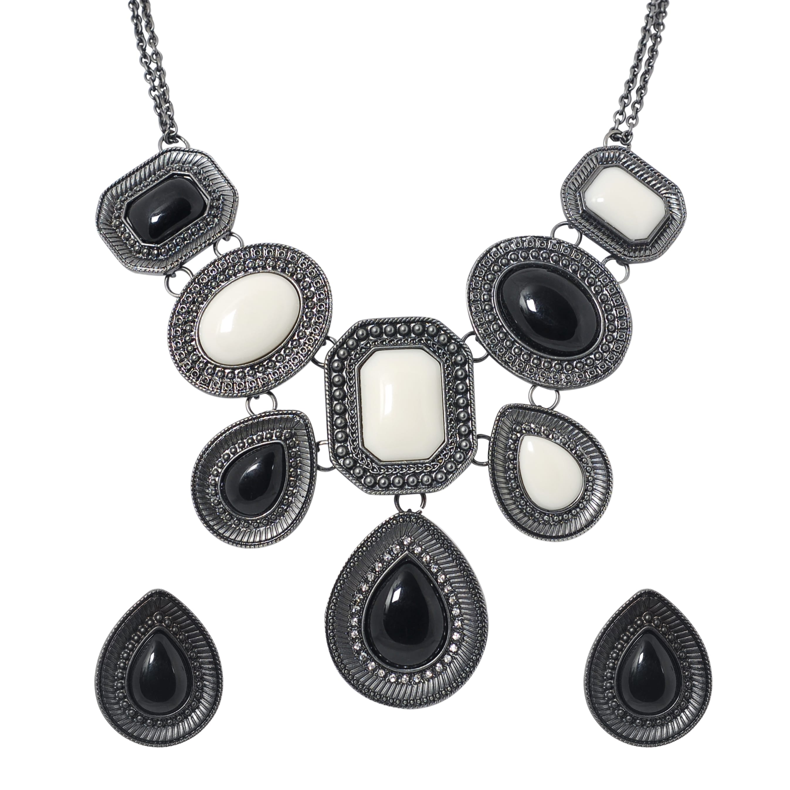 Journee Collection Gunmetal Rhinestone Acrylic Necklace Earring Set