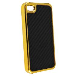 Black Carbon Fiber Case/ Diamond LCD Protector for Apple iPhone 4/ 4S