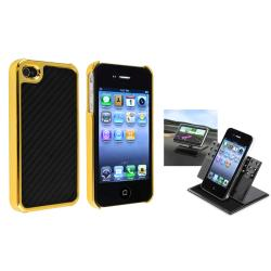 Black Carbon Fiber Case/ Phone Holder for Apple iPhone 4/ 4S