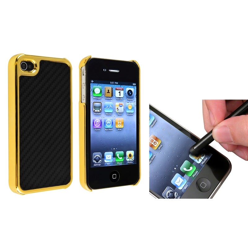 Black Carbon Fiber Case/ Stylus for Apple iPhone 4/ 4S