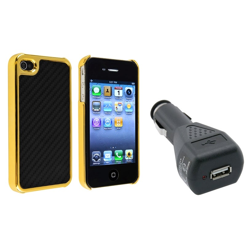 Black Carbon Fiber Case/ Black Car Charger for Apple iPhone 4/ 4S