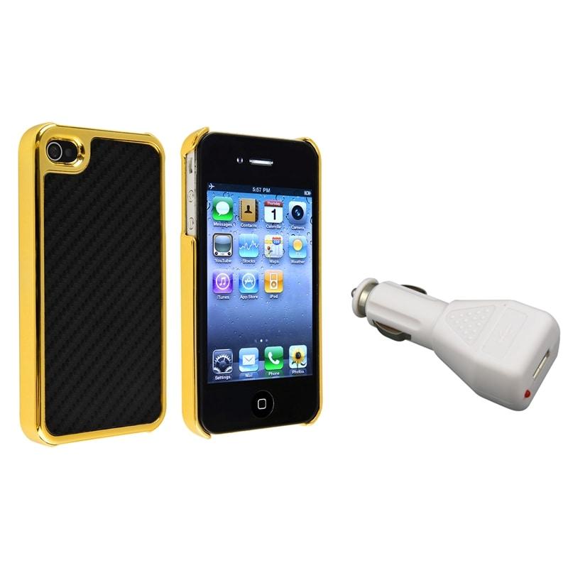 Black Carbon Fiber Case/ White Car Charger for Apple iPhone 4/ 4S