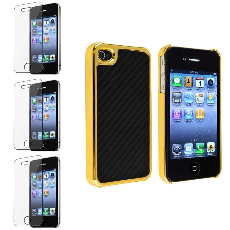 Black Carbon Fiber Case/ Screen Protectors for Apple iPhone 4/ 4S