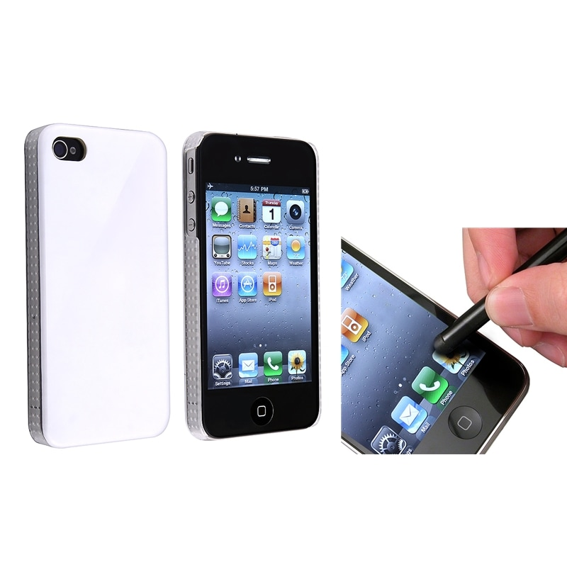 Shiny White Case/ Black Stylus for Apple iPhone 4/ 4S