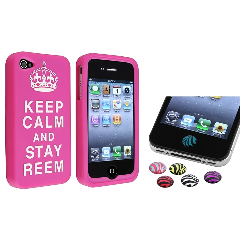Pink Silicone Case/ Zebra Home Button Stickers for Apple iPhone 4/ 4S