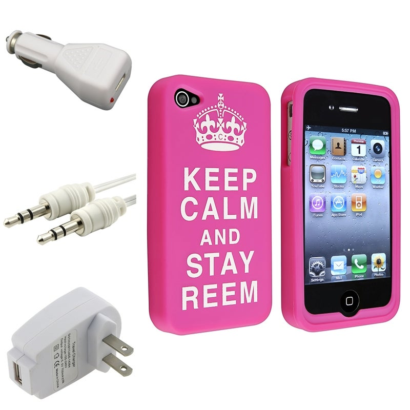 Pink Silicone Case/ Travel/ Car Charger/ Cable for Apple iPhone 4/ 4S