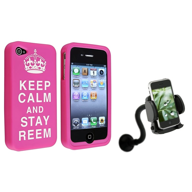 Pink Silicone Case/ Mounted Phone Holder for Apple iPhone 4/ 4S