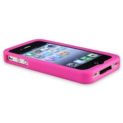 Pink Silicone Case/ Diamond Screen Protector for Apple iPhone 4/ 4S