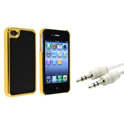 Black Carbon Fiber Case/ White Audio Cable for Apple iPhone 4/ 4S