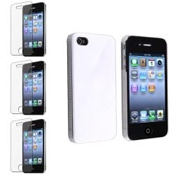 Shiny White Case/ Screen Protectors for Apple iPhone 4/ 4S