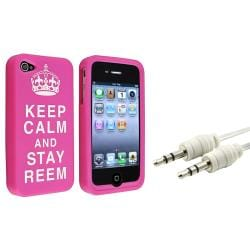 Pink Silicone Case/ White Audio Cable for Apple iPhone 4/ 4S