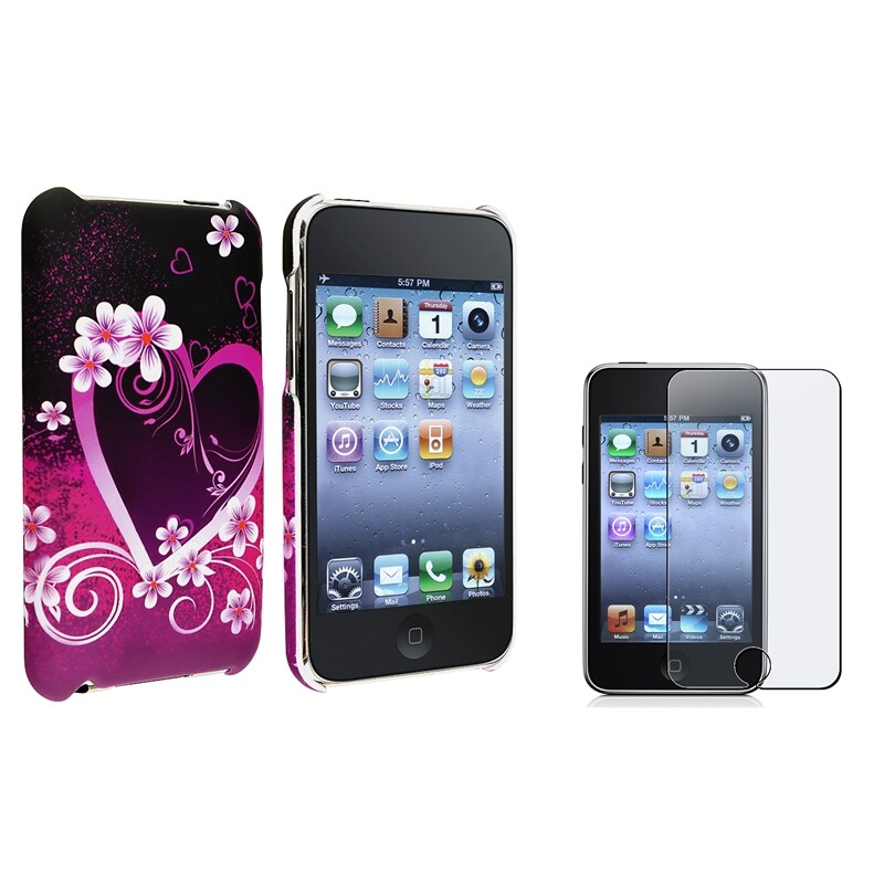 Heart Case/ Anti-glare Protector for Apple iPod Touch Generation 2/ 3
