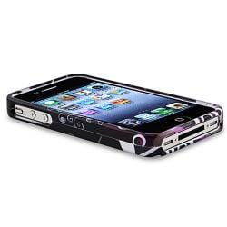 Black/ Purple Heart Case/ Chargers/ Cable for Apple iPhone 4/ 4S