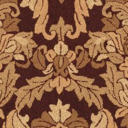 Hand-hooked Chelsea Leaves Brown Wool Rug (5'3 x 8'3)