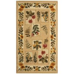 Hand-hooked Chelsea Floral Ivory Wool Rug (2'6 x 4')