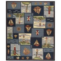 Hand-hooked Nautical Blue Wool Rug (7'6 x 9'9)