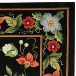 Safavieh Hand-hooked Chelsea Gardens Black Wool Rug (7'6 x 9'9)