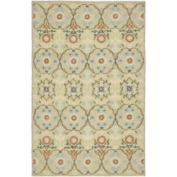 Hand-hooked Chelsea Styles Sage Green Wool Rug (6' x 9')
