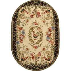 Safavieh Hand-hooked Rooster and Hen Cream/ Black Wool Rug (7'6 x 9'6 Oval)