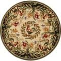 Hand-hooked Rooster and Hen Cream/ Black Wool Rug (8'