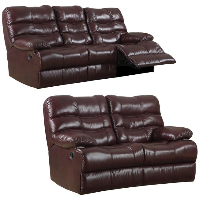 Cameron Burgundy Italian Leather Reclining Sofa and Loveseat