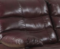 Cameron Burgundy Leather Reclining Sofa and Two Recliner/Glider Chairs